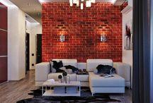 Стены с декоративным кирпичом