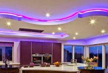 LED false ceiling lights for living room, LED strip lighting ideas in the interior / LED false ceiling lights for living room, LED strip lighting ideas in the interior