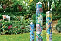Peace Poles - Painted Peace Art Poles / Art for your garden.  Add beautiful art to your landscape and home with these beautiful decorative art poples.