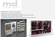 KUNZWEILER GmbH Möbel Design / BaseXSystem  Design by Kunzweiler,  'BaseXSystem ist ein modulares Stecksystem,   basierend auf Rohr-Knoten-Elementen. Integriert ist ein Grafikkonzept   mit Pixeloptik in Kombination mit LED-Technik.   Verwendbar als Shop-in-Shop-Lösung sowie als Display oder im Möbelbau .