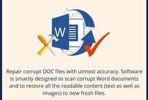 MS Word file recovery / Repair your corrupt MS Word file and safely retrieve all the data from it. The solution first scans the entire MS Word file for error and if found any corruption then, it will repair without any modification.