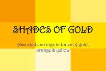 SHADES OF GOLD / Unique, handmade earrings in shades of GOLD, RED, ORANGE & YELLOW