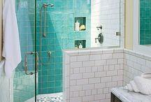 cuartos de baño azul-verde