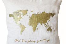Ivory linen map pillow