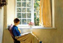 [1874 - 1961] Harold Knight / Harold Knight RA (27 January 1874 – 3 October 1961) was an English portrait, genre and landscape painter.  Knight was born in Nottingham, England, the son of an architect, and studied at Nottingham School of Art under Wilson Foster. Nottingham had a reputation as among the best of the English provincial art schools and Knight won a series of prizes there, most notably for a series of oil studies of nudes. At the time he was considered to be the best student in the college.
