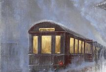 lotta smile? treno con passeggeri in salita tra fumo e nebbia all' imbrunire