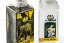 Holy Water / Holy Land Water products, filled from the baptismal site Yardenit on the banks of the Jordan River.