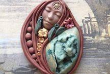 Clay pendant druzy