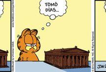 Garfield / Un gato descreído, gordo que ama la lasaña, odia los lunes, que pega los perros y que persigue los carteros. La pasion que tiene Garfield para la comida y el sueño solamente iguala a su aversión de dieta y ejercicio.