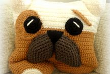 Crochet bulldog pillow