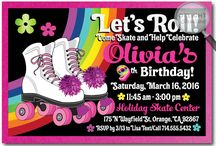 Retro Roller Skate Birthday Invitations and Rollerskate Party Favors
