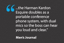Harman Kardon Esquire Mini / Elegance, sophistication and extreme portability to fit your style. Wireless, portable speaker and conferencing system.  Harman Kardon Esquire Mini is a bold, state-of-the-art solution exceeding the needs of the on-the-go professional. No attention-to-detail has been spared – from the lineup of premium materials utilized by master craftsmanship to the chic urban styling of its sublime, uni-body design.