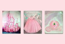 Princess Wall Art SET OF 3 Art Prints / Art Prints of my Original Hand painted Paintings, Fine Art, Canvas ready to hang, Watercolor Art, Digital Art, Custom Name, Custom Colors, Personalized Art.  Check out my shop: http://www.etsy.com/shop/handpainting?ref=si_shop