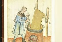 Medieval dyeing and other textile processes / Medieval dyeing and other textile processing.