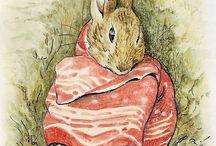 Beatrix Potter  = muis met grote omslag doek