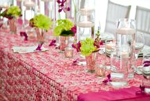 Ribbons and Florals / Weddings and events showcasing ribbon and floral tablecloths, also featuring other design inspiration