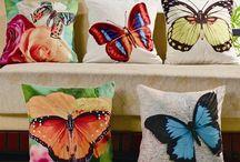 cojines mariposa pintura