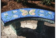 stained glass bench and mosaic / by Paula Loveless