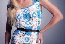 Multi-coloured crochet dress