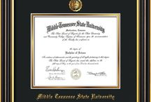 Middle Tennessee State University - MTSU - Diploma Frames & Graduation Gifts! / Official MTSU Diploma frames. Exquisitely crafted to exacting specifications for the MTSU diploma. Custom framed using hardwood mouldings and all archival materials, including UV glass to prevent fading from sunlight AND indoor incandescent lighting! Each frame exceeds Library of Congress standards for document preservation and includes a 100% lifetime guarantee, ensuring that a hard-earned achievement will be honored and protected for generations. Makes a thoughtful and unique graduation gift!