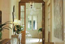 Foyer/Hallway / foyer/hallway/entryway/corridor/art/vacation/door/rug/turquoise/grey/blue/chandelier / by Susan McFarlane