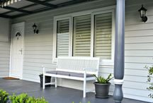 Exterior colours / Grey house white trim and blue door