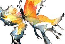 Aquarel experimenteel / uit de combinatie van kleuren flora,fauna, mensen,e.d. te voorschijn brengen.