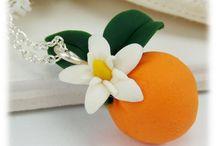 Flowering Fruit Jewelry / Adoring handcrafted flowering fruit pendants including strawberries, oranges, lemons and more.