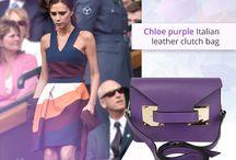 Chloe purple Italian leather clutch/ shoulder bag