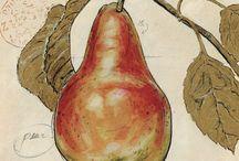 Frutas verduras vintage