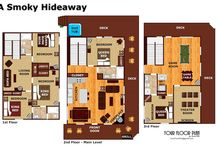 Floor Plans of our Cabins / Full colored detailed Floor Plans of some of our amazing Smoky Mountain Luxury Log Cabins.