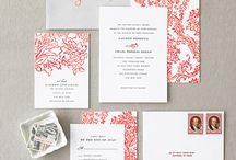 ideas for J / This is a board I did for a client who wanted a white-on-white wedding invitation with accents of grey and coral!