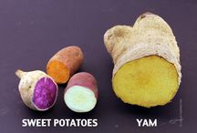 Yams versus sweet potatoes / Yams and sweet potatoes are unrelated plants. Louisiana decided to market their sweet potatoes as yams, though, so most people in the United States are confused. This board has the correct information.