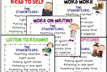 Daily Five for Reading and Writing / Resources for the Daily 5 in Elementary classrooms. Teacher aids: worksheets, task cards, lessons, charts, bulletins, center labels.