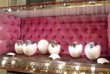 Easter window display jewelry