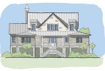 Awendaw Creek / The Awendaw Creek plan is the largest in the Creek Collection, and is an elevated design ideal for coastal areas. This design boasts an open living/kitchen area with access to the wrap around screened porch. The private dining room is separated from the kitchen by a short walkway complete with a laundry room and large pantry. It has a large master bedroom downstairs with private access to the screened porch. Up the lofted stairway, there are three guest bedrooms and two bathrooms.