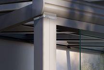 weinor Terrazza / Terasă de iarnă - sistem complet de susținere cu stâlpi și grinzi de aluminiu prevopsite, cu sistem de pluviale încorporat, cu posibilitate de upgrade ulterior și transformare în Glasoase cu parasolare și închidere totală cu sticlă, accesorizabilă.