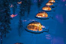 Finnish glass igloos: shining in the winter forest.