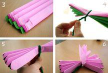 Fiori con fazzoletti di carta