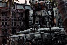 robot diorama / robots dioramas sci fi  futuristic future industrial fantasy monsters mechanism assembly line