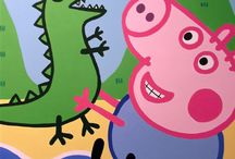 peppa pig and george wall mural / This large wall mural was created for the younger members of the Clocktower Childcare pre-school. A water theme was agreed and it features Peppa and George at the beach.