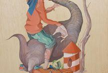 Oil on wood / Surrealismo pop