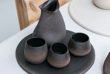 Pitchers & Cups / Artist made stoneware drinking vessels.