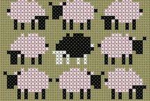Vache-cow-Mouton-sheep-Cochon-pig-point de croix-cross stitch / mes créations sur Blog : http://broderiemimie44.canalblog.com/ point de croix - cross stitch - broderie - embroidery