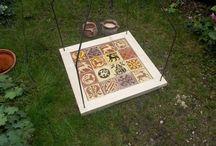 My selfmade medieval tiles / Middeleeuwse tegels gemaakt in Tegelmakerij AAN HUIS GEBAKKEN