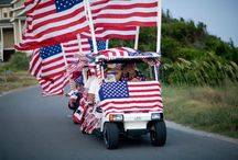 July 4th Golf Cart Parade / Bald Head Island, N.C.'s annual golf cart parade is enjoyed by all islanders. Golf cart decorations include patriotic, tacky tourists, environmental and Bald Head Island.