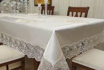 kumaş dantel karışımı masa örtüleri