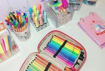 Desks and art supplies