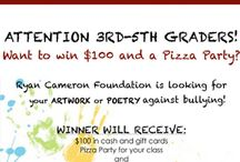 5th Annual Anti-Violence Youth Contest / The Ryan Cameron Foundation is pleased to announce the 5th Annual Youth Anti-Violence Contest. The contest is open to all students ages 8-19.  - Students in grades 3rd-5th may submit an essay, poetry or artwork on the topic of bullying. - Students in grades 6th-12th may submit an essay, poetry, artwork or a :60 sec skit on DVD representing the topics of teen driver safety or bullying.  For more info, visit http://www.Ryancameron.org/contest.html.  Contest ends on February 23, 2013.