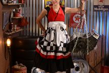 The Racing Apron / The Racing Apron is for the man or woman who loves Racing and wants to share their love for the style. Can be worn as a hostess outfit to entertain or in the kitchen while prepaing / by Trisha Trixie Designs